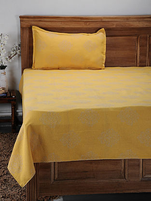 Yellow Hand Woven Cotton Single Bed Cover With Pillow Covers (Set of 2) (Set of 2)
