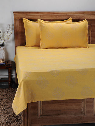 Yellow Hand Woven Cotton Double Bed Cover With Pillow Covers (Set of 2) (Set of 3)