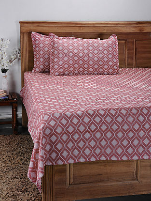 Red Hand Woven Cotton Double Bed Cover With Pillow Covers (Set of 2) (Set of 3)