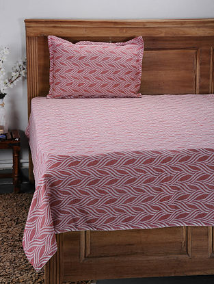 Red Hand Woven Cotton Single Bed Cover With Pillow Covers (Set of 2) (Set of 2)