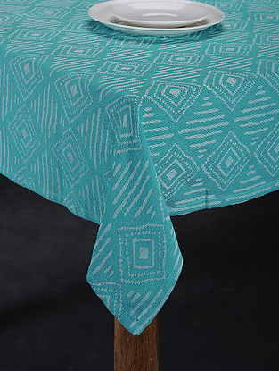 Blue Hand Woven Cotton 4-Seater Table Cover (62in X 62in)