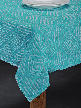 Brown Hand Woven Cotton 6-Seater Table Cover (91in X 62in)