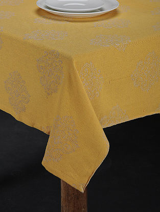 Brown Hand Woven Cotton 6-Seater Table Cover (91in X 63in)