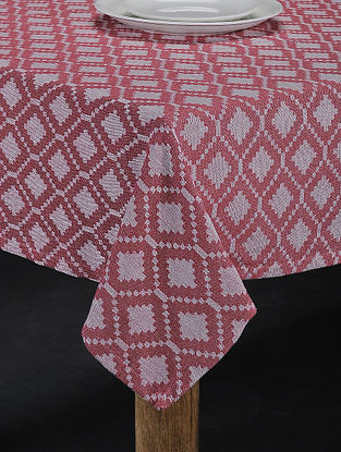 Brown Hand Woven Cotton 4-Seater Table Cover (62in X 62in)