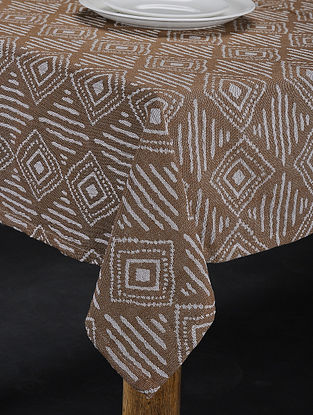 Brown Hand Woven Cotton 4-Seater Table Cover (61in X 61in)