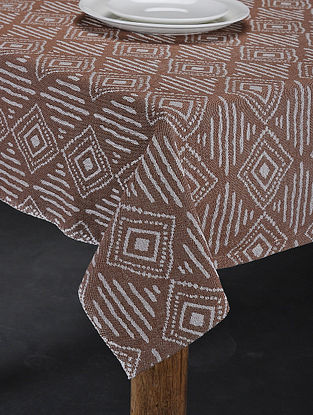 Brown Hand Woven Cotton 6-Seater Table Cover (90in X 63in)