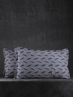 Blue Hand Woven Cotton Pillow Covers (Set of 2) (26in X 17in)