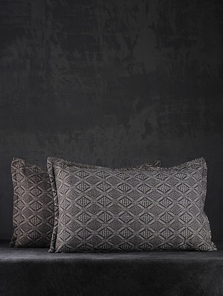 Brown Hand Woven Cotton Pillow Covers (Set of 2) (26in X 17in)