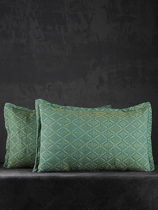 Green Hand Woven Cotton Pillow Covers (Set of 2) (26in X 17in)