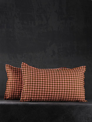 Orange Hand Woven Cotton Pillow Covers (Set of 2) (26in X 17in)