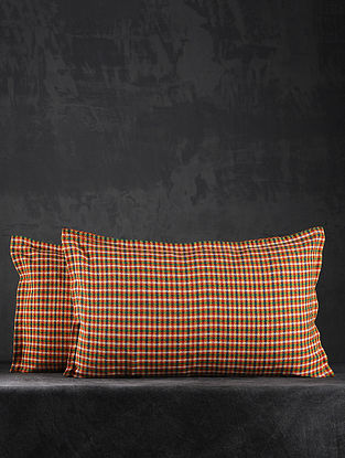 Yellow Hand Woven Cotton Pillow Covers (Set of 2) (26in X 17in)