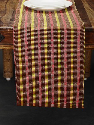 Brown and Yellow Handwoven Cotton Table Runner (72in x 12.5in)
