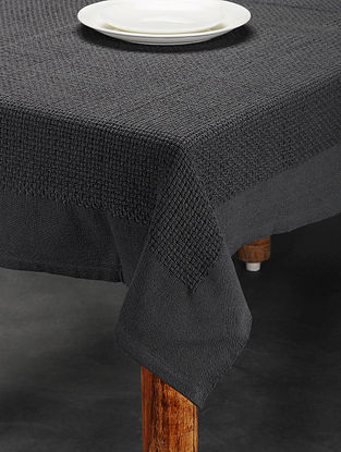 Grey Handwoven Cotton Table Cover (6 Seater) (74in x 54in)
