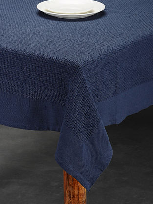 Blue Handwoven Cotton Table Cover (6 Seater) (73in x 53in)
