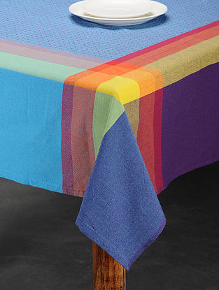 Blue and Pink Handwoven Cotton Table Cover (6 Seater) (92in x 61in)