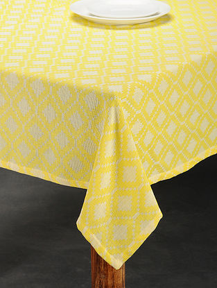 Yellow Cotton Jacquard Table Cover (4 Seater) (62in x 62in)
