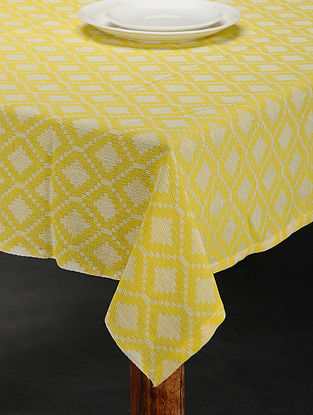 Yellow Cotton Jacquard Table Cover (6 Seater) (92in x 59in)