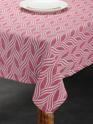 Pink Cotton Jacquard Table Cover (4 Seater) (61in x 60in)