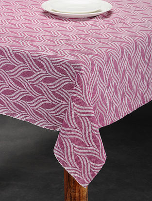 Pink Cotton Jacquard Table Cover (6 Seater) (91in x 62in)