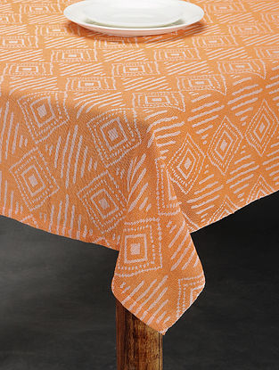 Orange Cotton Jacquard Table Cover (4 Seater) (62in x 62in)