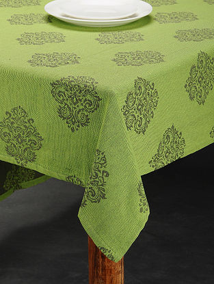 Green Cotton Jacquard Table Cover (4 Seater) (63in x 62in)