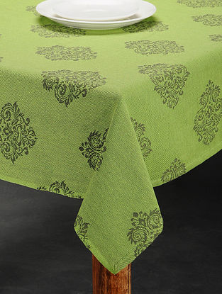 Green Cotton Jacquard Table Cover (6 Seater) (91in x 63in)