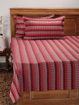 Red and Grey Cotton Jacquard Double Bed Cover with Pillow Covers (Set of 3)