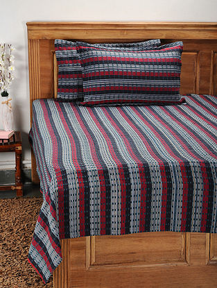 Blue and Red Cotton Jacquard Double Bed Cover with Pillow Covers (Set of 3)