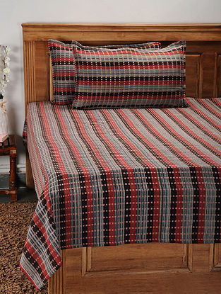 Red and Brown Cotton Jacquard Double Bed Cover with Pillow Covers (Set of 3)
