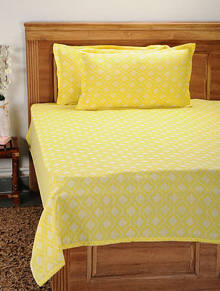 Yellow Cotton Jacquard Double Bed Cover with Pillow Covers (Set of 3)