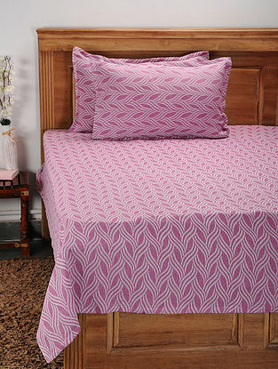 Pink Cotton Jacquard Double Bed Cover with Pillow Covers (Set of 3)
