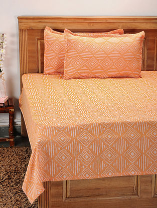 Orange Cotton Jacquard Double Bed Cover with Pillow Covers (Set of 3)