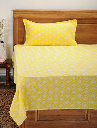 Yellow Cotton Jacquard Single Bed Cover with Pillow Cover (Set of 2)