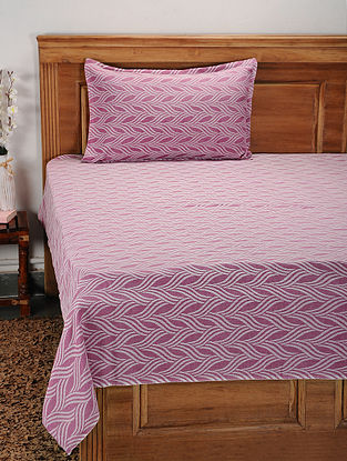 Pink Cotton Jacquard Single Bed Cover with Pillow Cover (Set of 2)