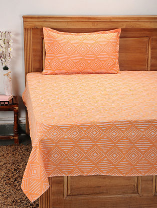 Orange Cotton Jacquard Single Bed Cover with Pillow Cover (Set of 2)