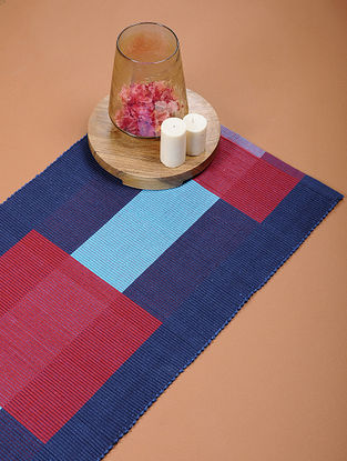 Blue and Red Handloom Cotton Rug (4ft x 1ft 8in)