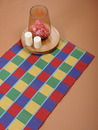 Red and Blue Handloom Cotton Floor Mat (4ft x 1ft)