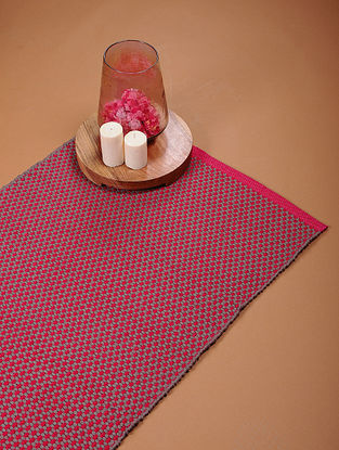 Red and Grey Handloom Cotton Floor Rug (2ft 11in x 2ft)