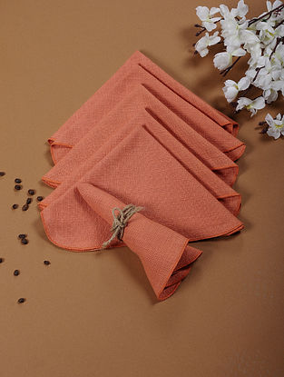 Orange Jacquard Cotton Table Napkins (Set of 6) (15in x 13in)