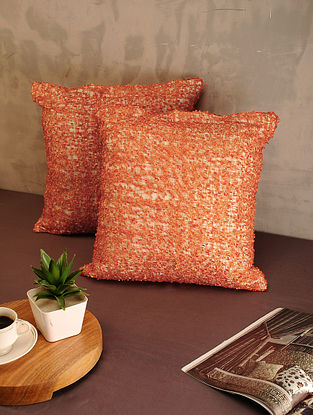 Orange Cotton Cushion Covers (Set of 2) (16in x 16in)