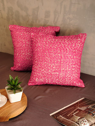 Red Cotton Cushion Covers (Set of 2) (16in x 16in)