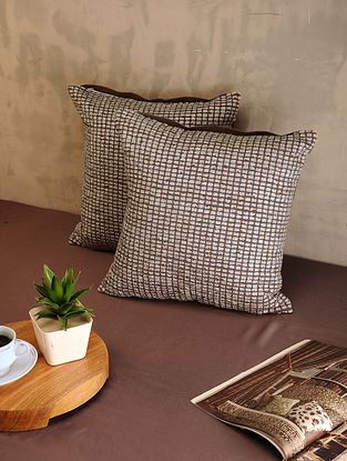 Brown Cotton Cushion Covers (Set of 2) (16in x 16in)