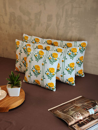 Yellow and White Cotton Cushion Covers (Set of 5) (11.5in x 11.5in)