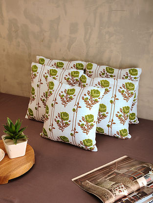 Green and White Cotton Cushion Covers (Set of 5) (12in x 12in)