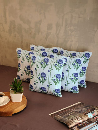 Blue and White Cotton Cushion Covers (Set of 5) (12in x 12in)