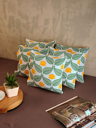 Yellow and Green Cotton Cushion Covers (Set of 5) (12in x 12in)