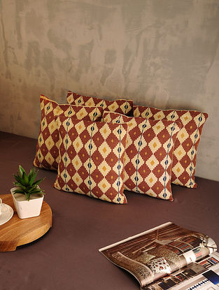 Brown Cotton Cushion Covers (Set of 5) (12in x 12in)