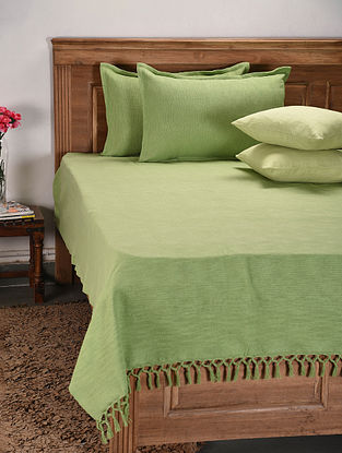 Green Handloom Cotton Double Bedcover with 2 Pillow Covers and 2 Cushion Covers (Set of 5)