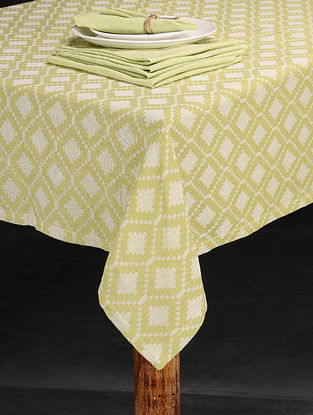 Green Handwoven Jacquard Cotton Table Cover with Table Napkins