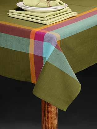 Green Handloom Cotton 4-Seater Table Cover with 4 Table Napkins (Set of 5)